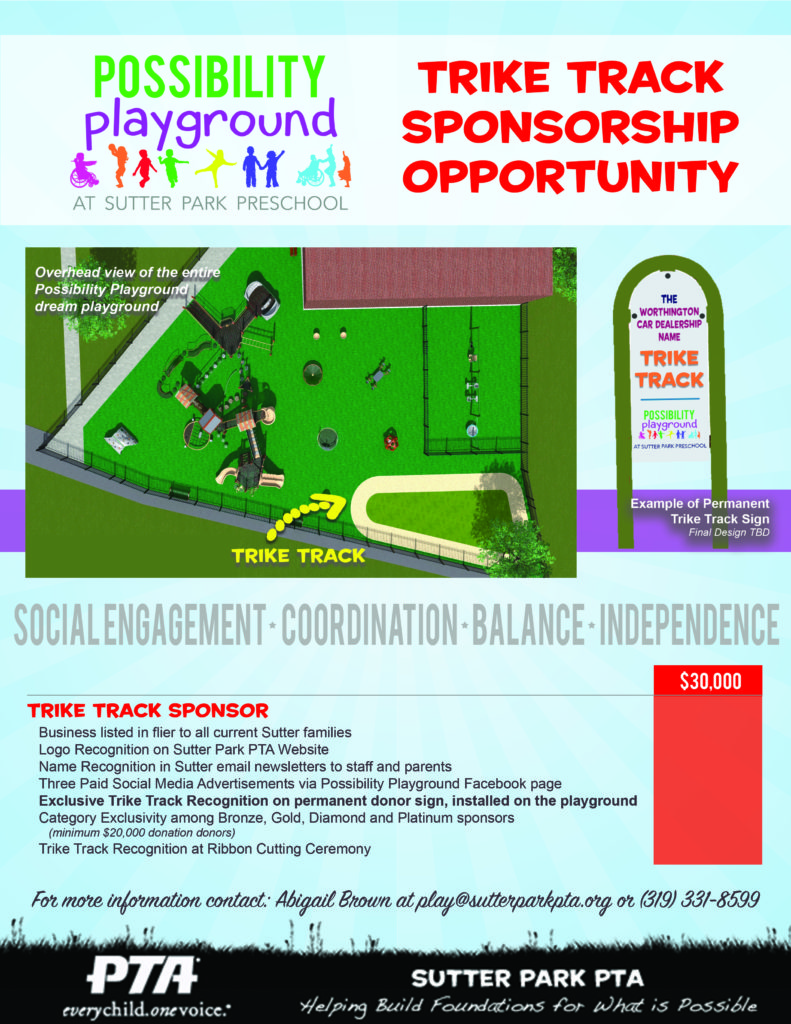 """The """"Trike Track"""" will be a track for students to ride tricycles and adaptive bicycles on outdoors. We would love to promote this as a """"race track"""" of sorts. Sponsorship of this playground element would include special signage exclusive to this area of the playground, in addition to sponsor recognition on permanent donor signage."""